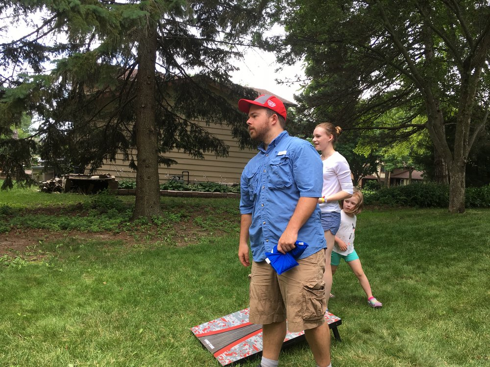 Chris shows his Ohio cornhole expertise.