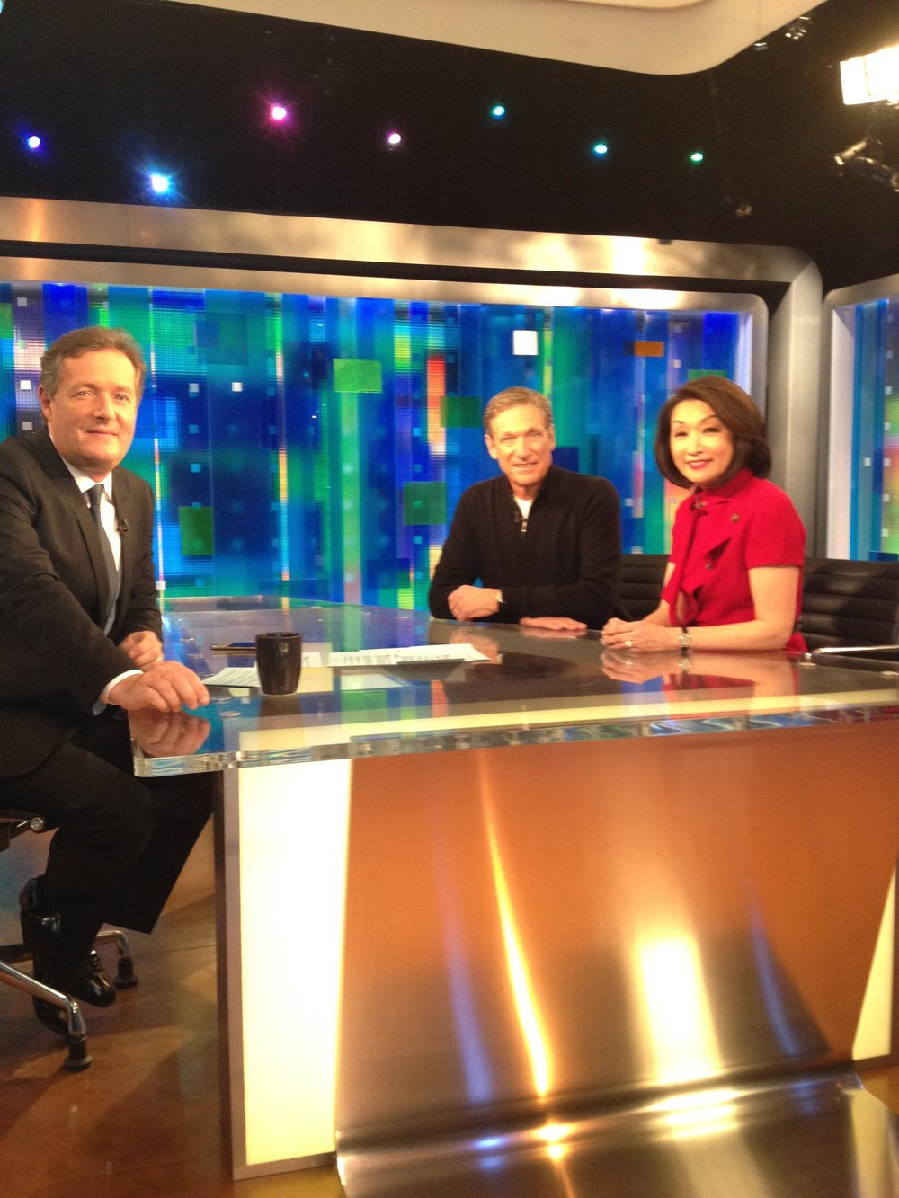 Maury Povich and Connie Chung with Piers Morgan