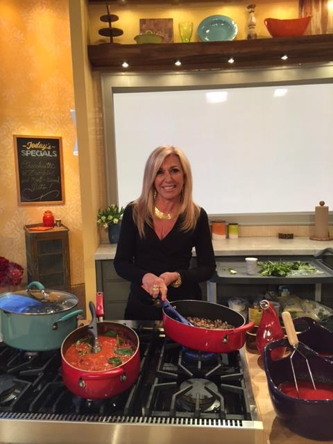 Judge DiMango cooking on Rachael Ray