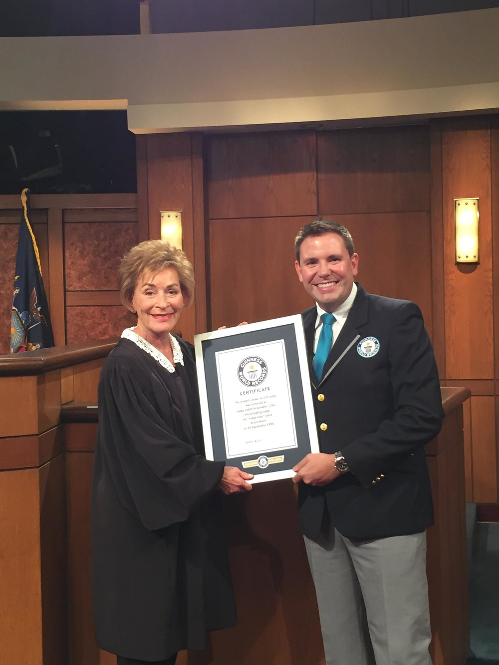 Judge Judy accepting Guinness World Record as longest running TV judge