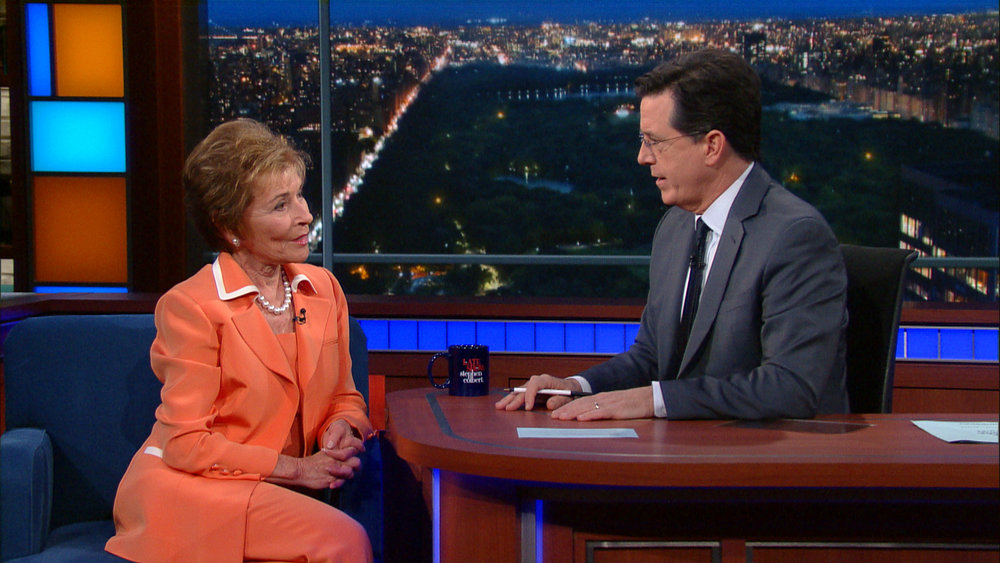 Judge Judy and Stephen Colbert
