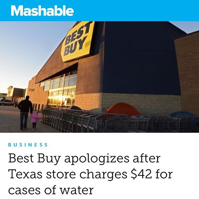 You guys hear about this? Best Buy charging outrageously for water on Texas? Shitty water at that. Now of course we see supply low demand high which due to the laws of supply and demand yield an increase in price. What do you think of this situation? We also saw this during hurricane Katrina where motel and hotel prices sky rocketed. I personally think Best Buy should have given away the water for FREE! That would have built an outstanding brand value and possibly life long consumers of Best Buy. Tag someone who doesn't know about this! . . . . . . . . . . . . . . #realestate #letsgo #grow #success #dontgiveup #BestBuy #hurricaneharvey #hurricane #harvey #prayforhouston #texas #business #businessman #businesstalk #learn #like4like #comment #share #followme #thiesandpolasek #finance #marketing #management #work #grind