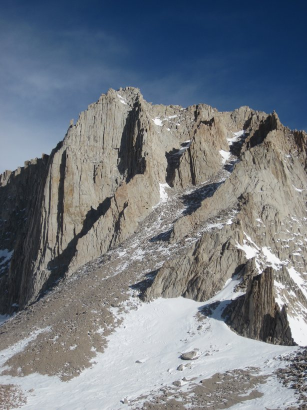 mt russell from the pass. fishhook arete is the prominant curving ridge ending on the summit