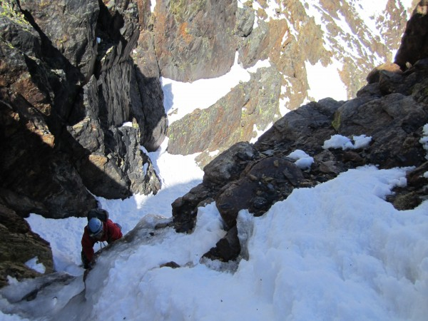 Allen soloing up the 2nd small ice step