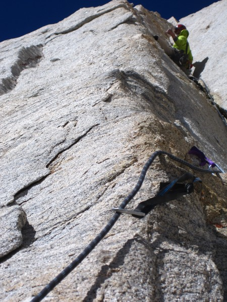 All quiet in the defining corner of Western Front (IV, 5.10), West Face of Mt. Russell