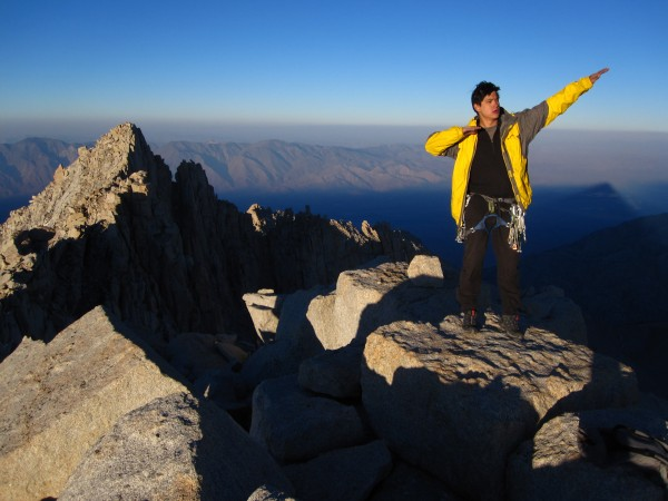 Scotty, always at home in his yellow jacket, with the Eastern Sierra behind