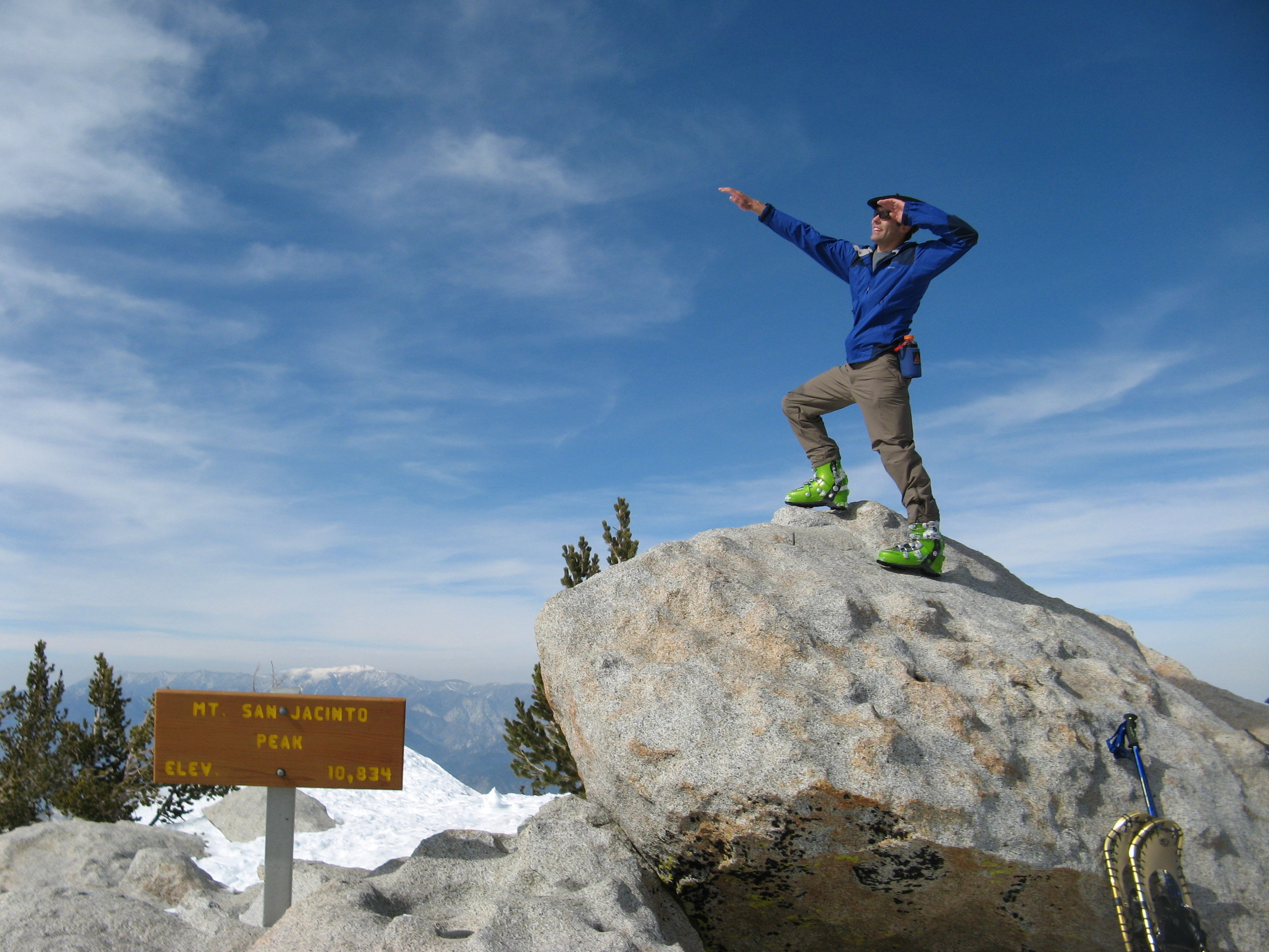 Making the pose on the summit of San Jacinto - now time to turn around and ski back down...