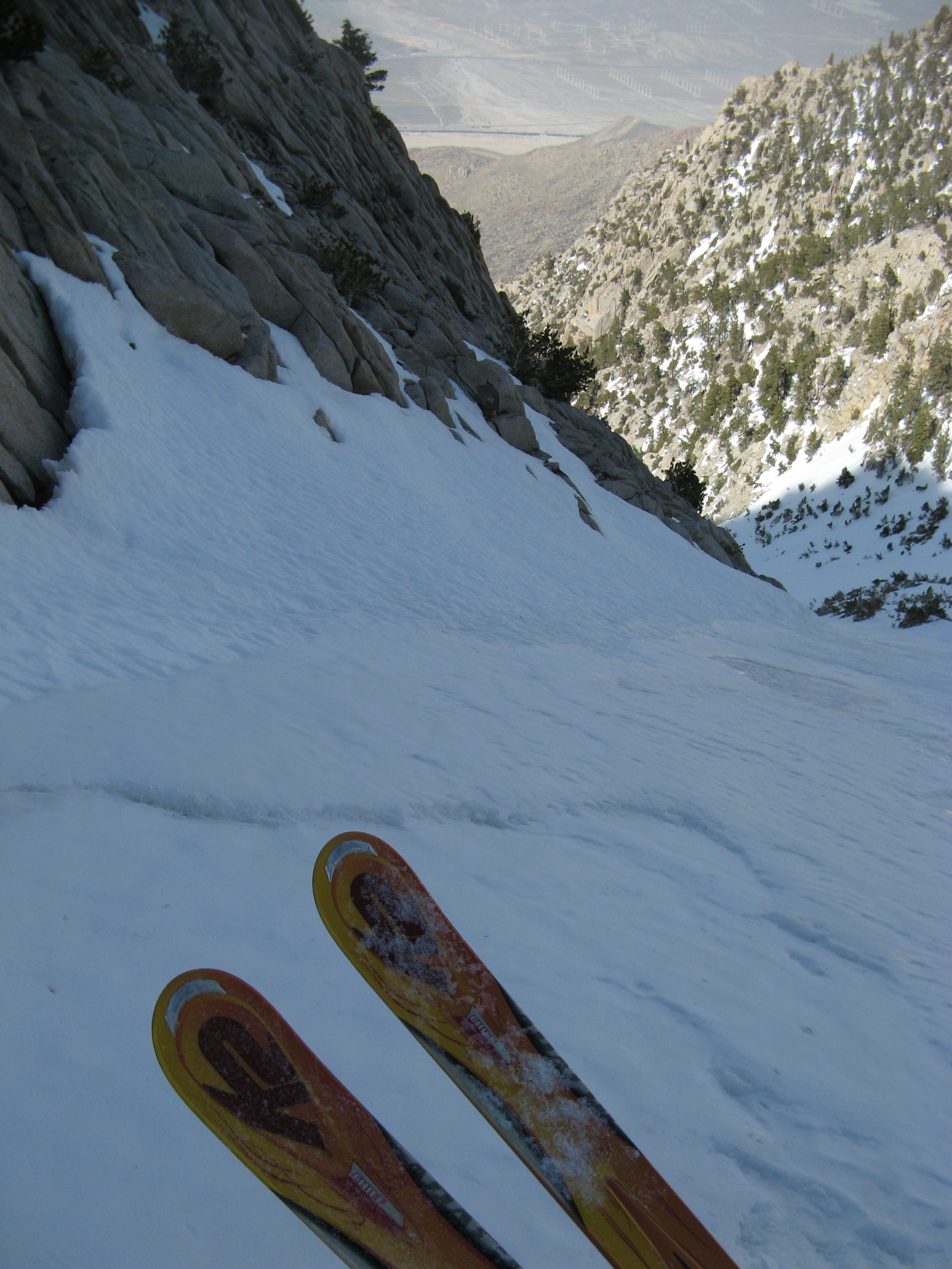 Looking down the couloir during a break.
