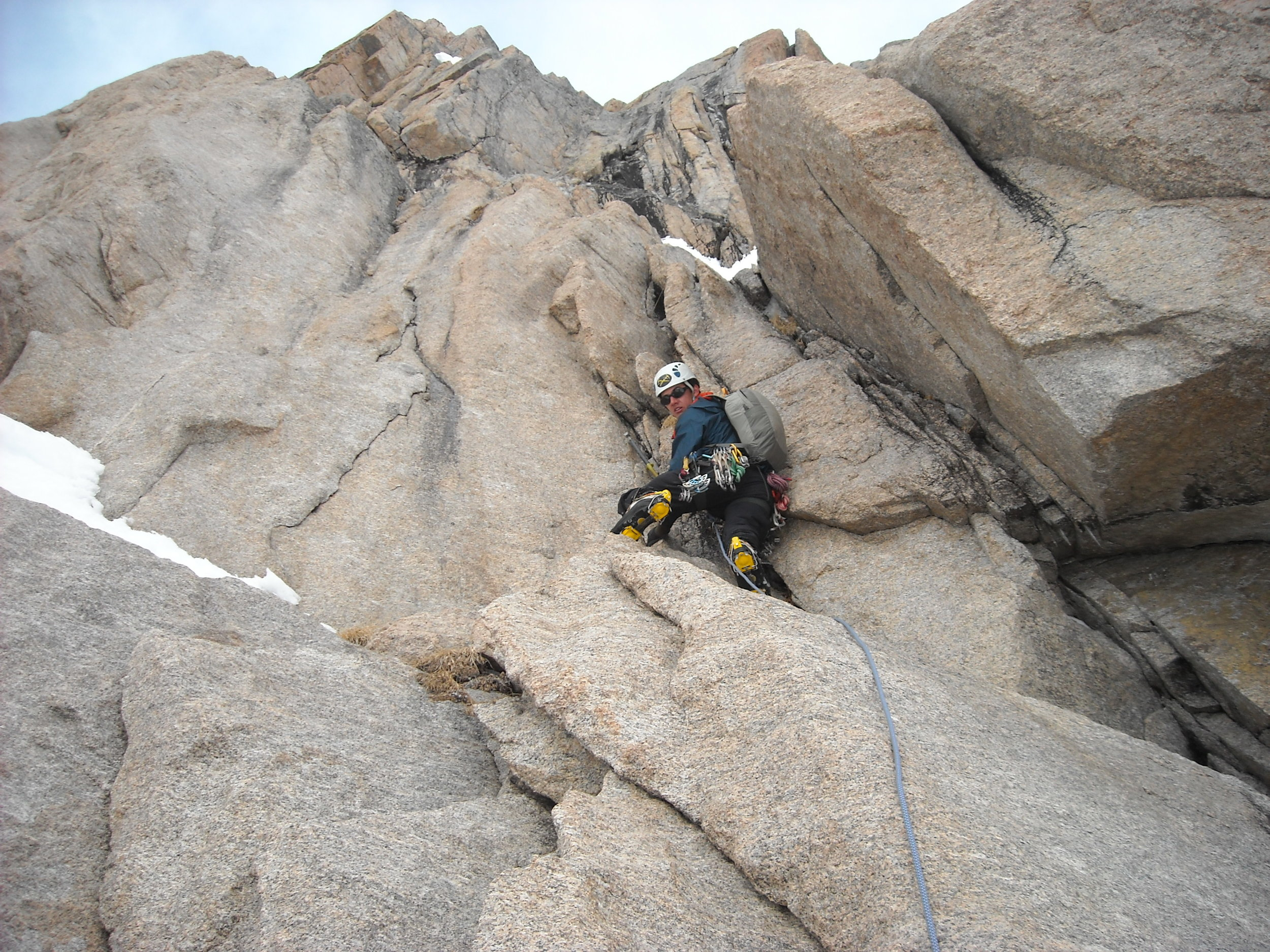 Buster leading the 1st pitch M6 crux