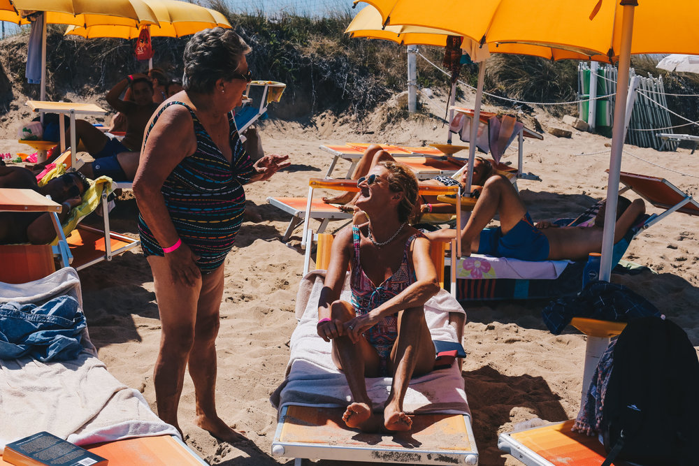 Mum and Nonna - exchanging a few words beach side.