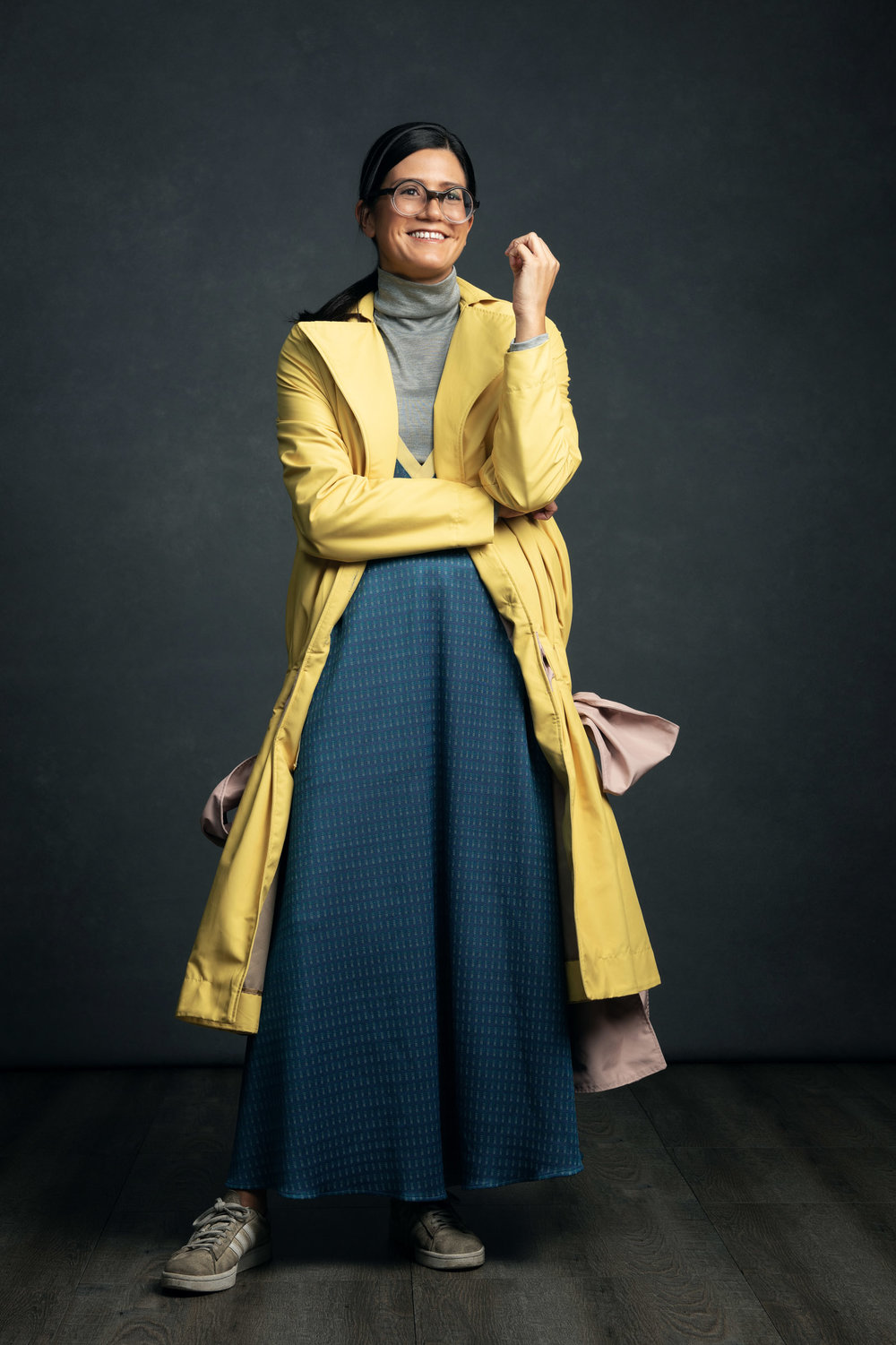 A Woman in a Man's World - Mercedes Molina in the Purity Knitted Top, Valiance Dress, and Virtue Coat.