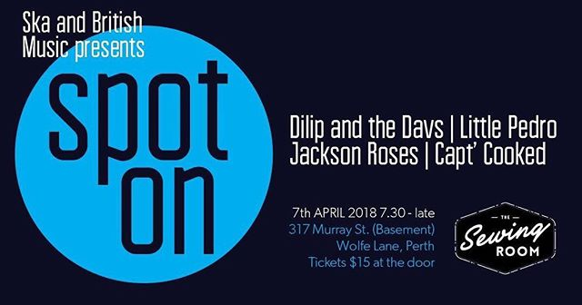 Next up for the Jackson Roses! Weekend after Easter.  #perthbands #thejacksonroses #perthmusic #thesewingroom @sewingroomperth @dilipnthedavs #indiemusic #littlepedro #captcooked #perthmusicscene #perthmusicians #supportlocalmusic