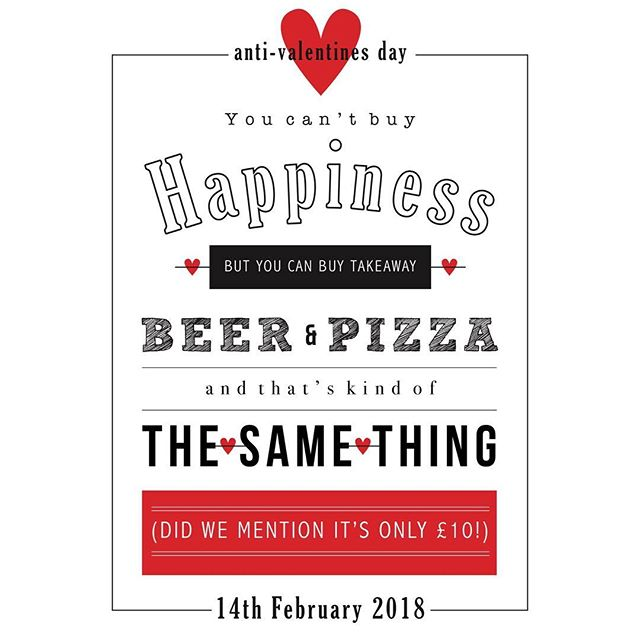 No plans tomorrow night? No problem! Grab a cold beer and a takeaway pizza of your choice for only £10! . . . . #valentinesday #antivalentinesday #pizza #beer #deal #offer #warwickshire #kineton #datenight