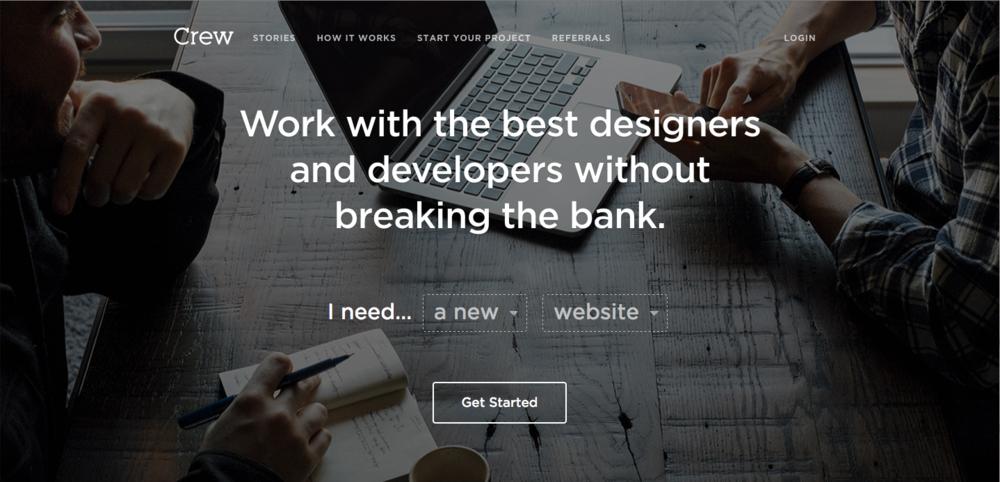 """Home page du site Internet de Crew - février 2015 :""""Travaillez avec les meilleurs designers et développeurs sans vous ruiner."""""""