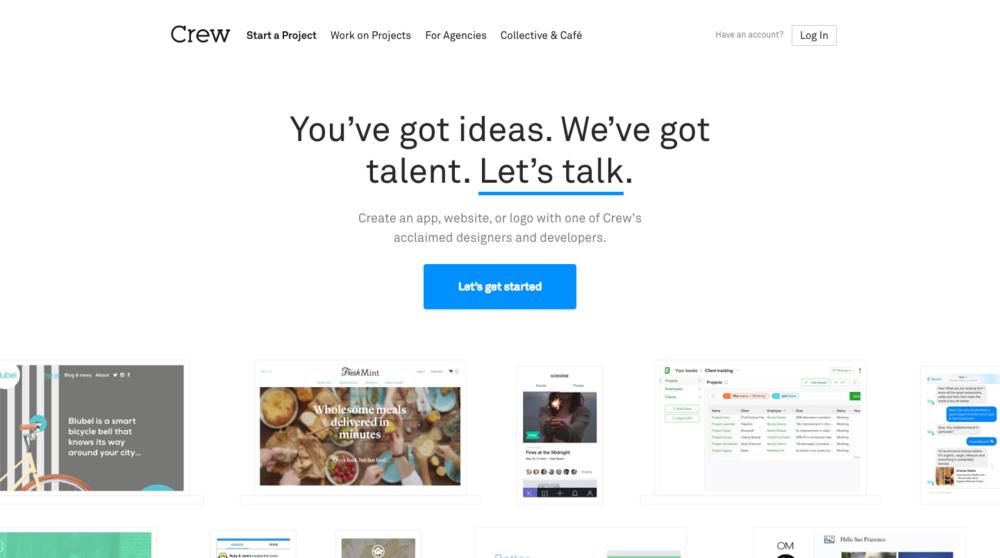 """Home page du site Internet de Crew - septembre 2016 :""""Vous avez des idées. Nous avons des talents. Parlons-en."""""""