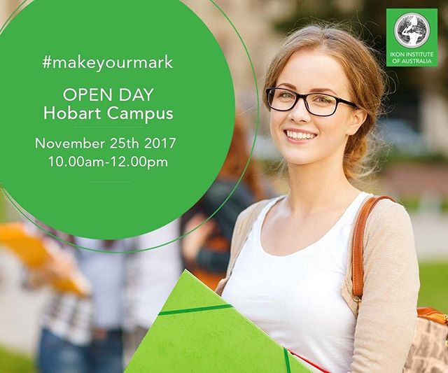 HOBART CAMPUS OPEN DAY is coming up! There will be course information, free workshops and giveaways #makeyourmark 25th November 10:00am to 12:00pm Register here: http://www.emailmeform.com/builder/form/9O31q0dhk8gsaZx5Pu #makeyourmark #hobart #tasmania #ikoninstitute #openday