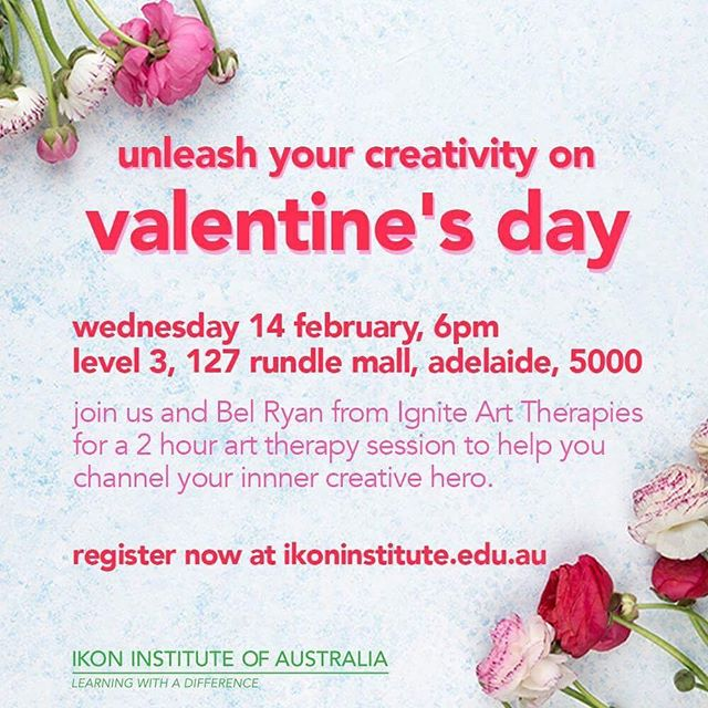 Workshop Series: ❤️Unleash your Creativity on Valentine's Day❤️ with Bel Ryan from Ignite Art Therapies. 👩‍🎨 Register now link in bio.  While valuable for all people, Art Therapy is commonly applied in specific contexts such as in aged care settings; dealing with trauma and stress; working with children and young people and with culturally and linguistically diverse clients.  Will provide participants with a greater understanding of:  What Art Therapy is and How Art Therapy can be used The Study options available for 2018 in the field of Creative Arts Therapies Expression and self-reflection through Art Therapy This workshop is ideal for those who are;  Interested in developing a theoretical and experiential understanding of Art Therapy. Counsellors and other professionals who are wanting professional development. Those who may be considering commencing a specialised qualification in Art Therapy. Time & Date: Wed, Feb 14, 2018 6:00 PM – 8:00 PM ACDT Location: Level 3, 127 Rundle Mall, Adelaide 5000 SA Cost: $20 incl. GST, includes a plus one (2 registrations in total). To be paid on the night. #education #student #study #careers #inspire #arttherapy #art #craft #learn #learning #impactyourfuture #success #motivation #mindfulness #educationiskey #creative #hustle #myadelaide #adelaide #southaustralia #rundlemall #adelaidecity