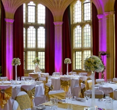 uplighting - Moodlighting  (aka uplighting) can transform your venue, complimenting your wedding's colour theme.We colour 'paint' your venue, inside or out, with light thus creating the perfect atmosphere for your special day and there are a whole host of options regarding colours and sequences, all of which can be agreed beforehand.Ideal for almost any venue, from the plain walls of a marquee, to hightlighting architectural features in a room such as alcoves, pictures, or textured walls.