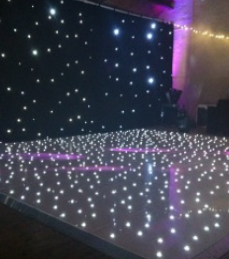 BLACK STARLIT BACKDROPS - Our high quality wool 3 metre by 2 metre black star cloth with cool white LED lights provides the perfect backdrop for bands, DJ's and live performances.The unit comes with its own controller with built in programs and can also be used in sound to light mode.Price £55 per dayExtra Hire Days HALF PRICE!Subject to delivery charge.