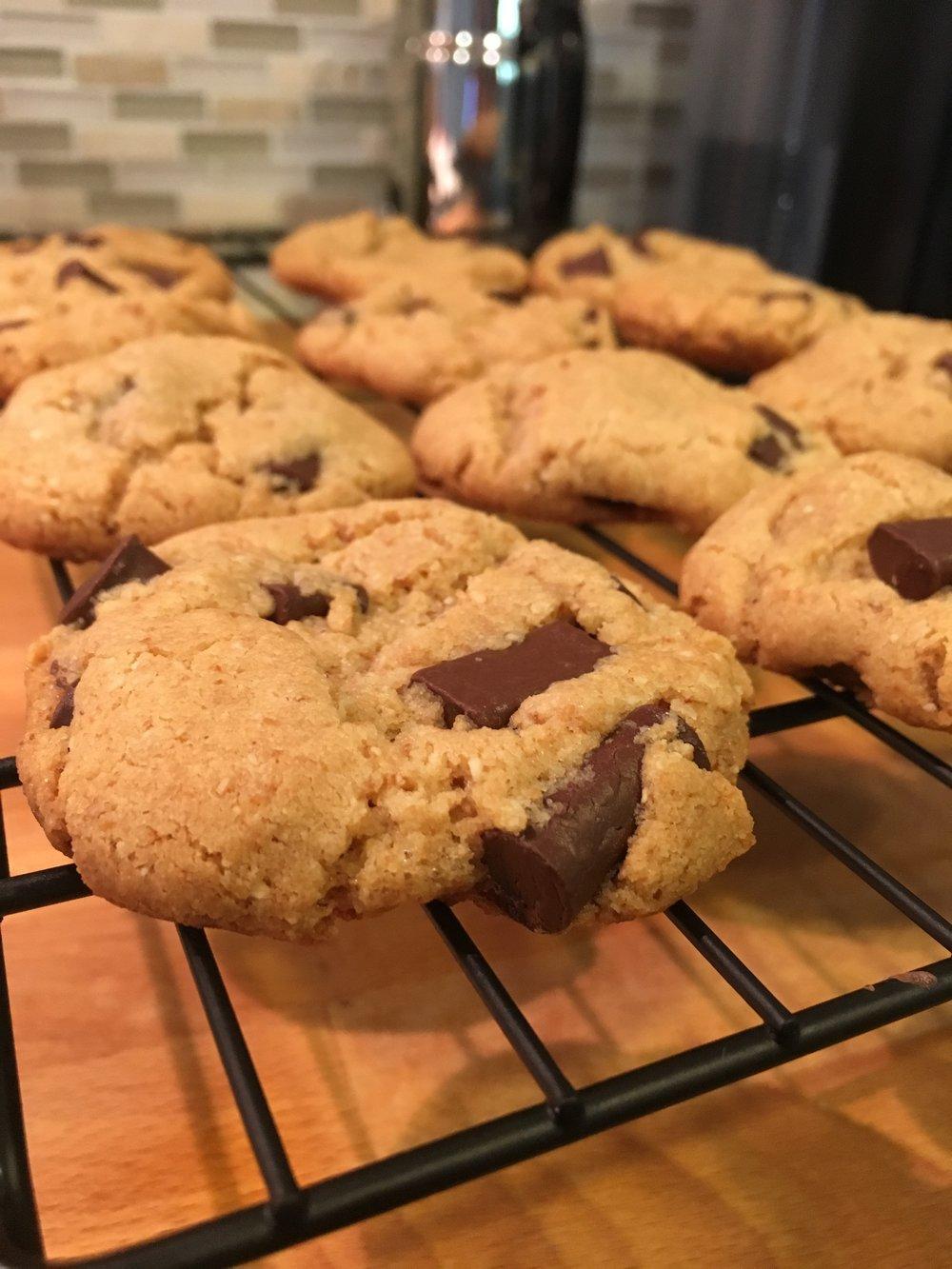 Flourless Peanut Butter Chocolate Chunk Cookies -
