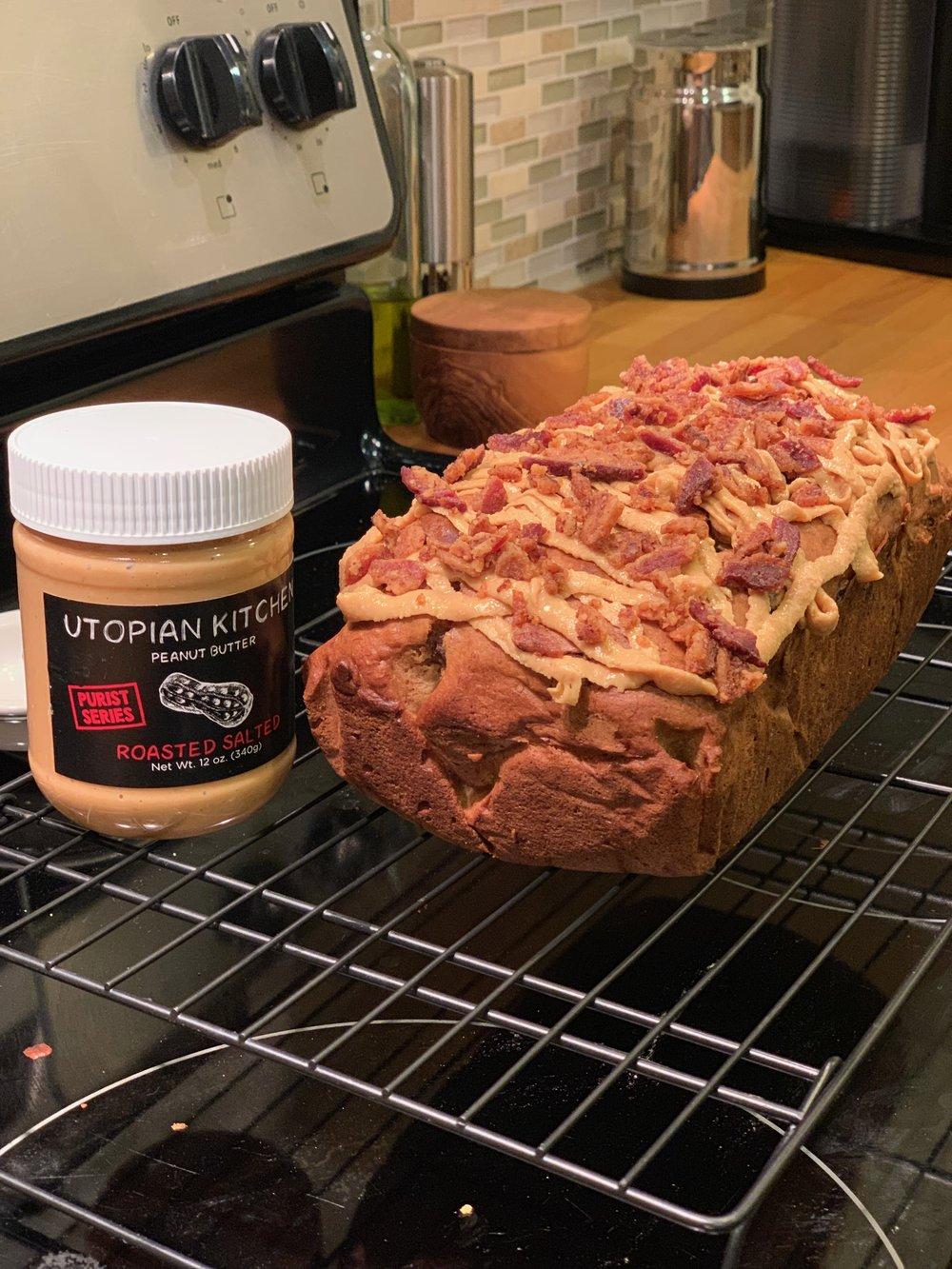 Peanut Butter Bacon Banana Bread - Click for recipe