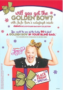 Claire's Accesories - Win! a Golden Bow! see in store for details