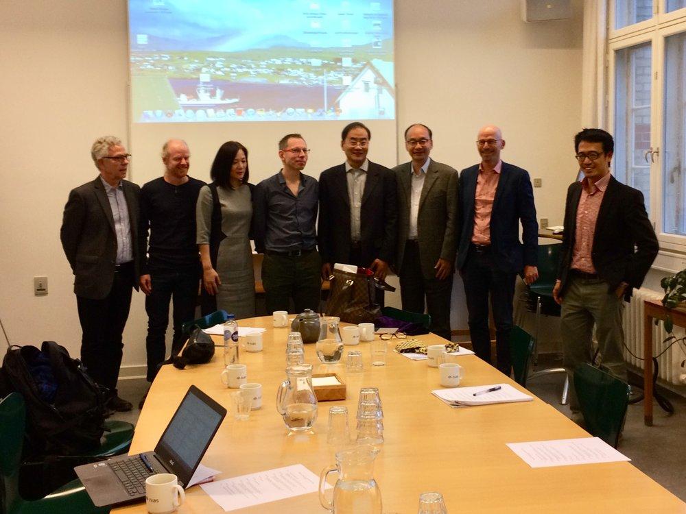 From left to right: Geir Helgesen, Ayo Wahlberg, Gao Xi, Peter Fibiger Bang, Jin Guangyao, Li Jianming, Oscar Salemink and Chunrong Liu