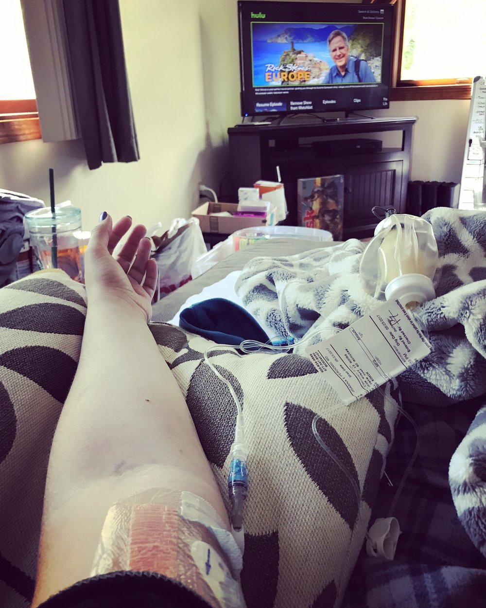 Just hanging out on the couch, getting my antibiotics infused, dreaming about traveling again someday, watching a little Rick Steves. #piccline #travelbug #itsgonnabeawhile #setbackssuck #somethingtoworktowards #travelgoals #traveldreams #oneleggedwoman