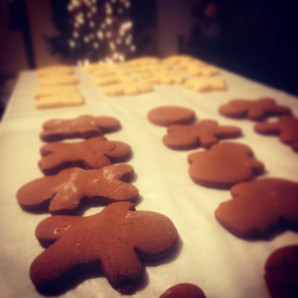 Gingerbread and Sugar Cookies cooling
