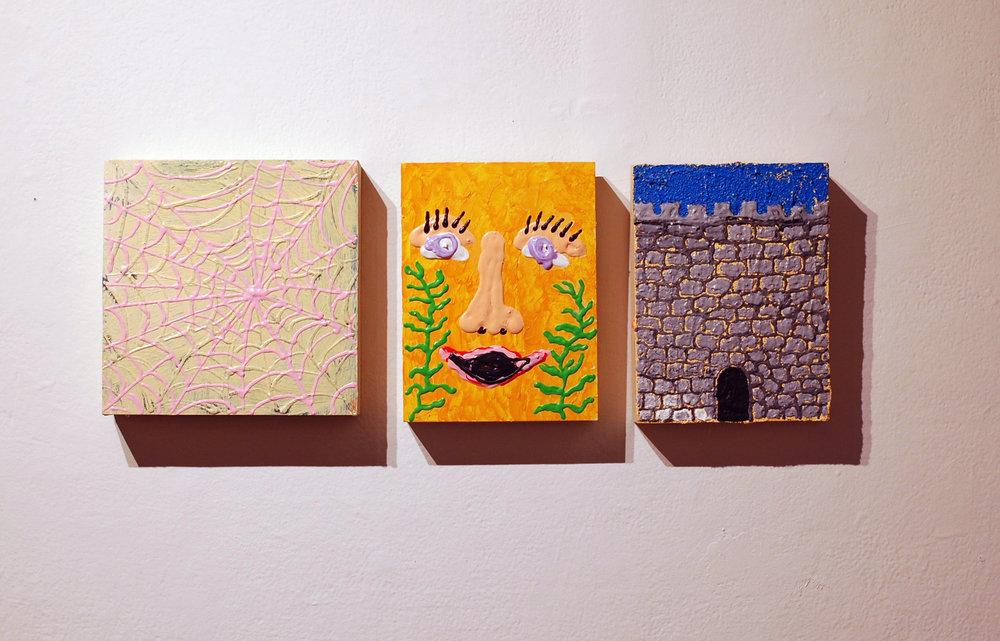 """(L-R): web/vortex/elbow tattoo, 10x10"""", acrylic on panel, 2018 ; hildegard von bingen in her garden of taregon, 8x10"""", acrylic on panel, 2018; Hole Wall, 8x10"""", acrylic and pumic on panel, 2018"""