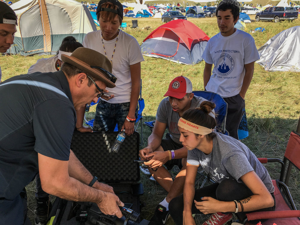 Billy from Contributor Films providing on-site media training at Standing Rock