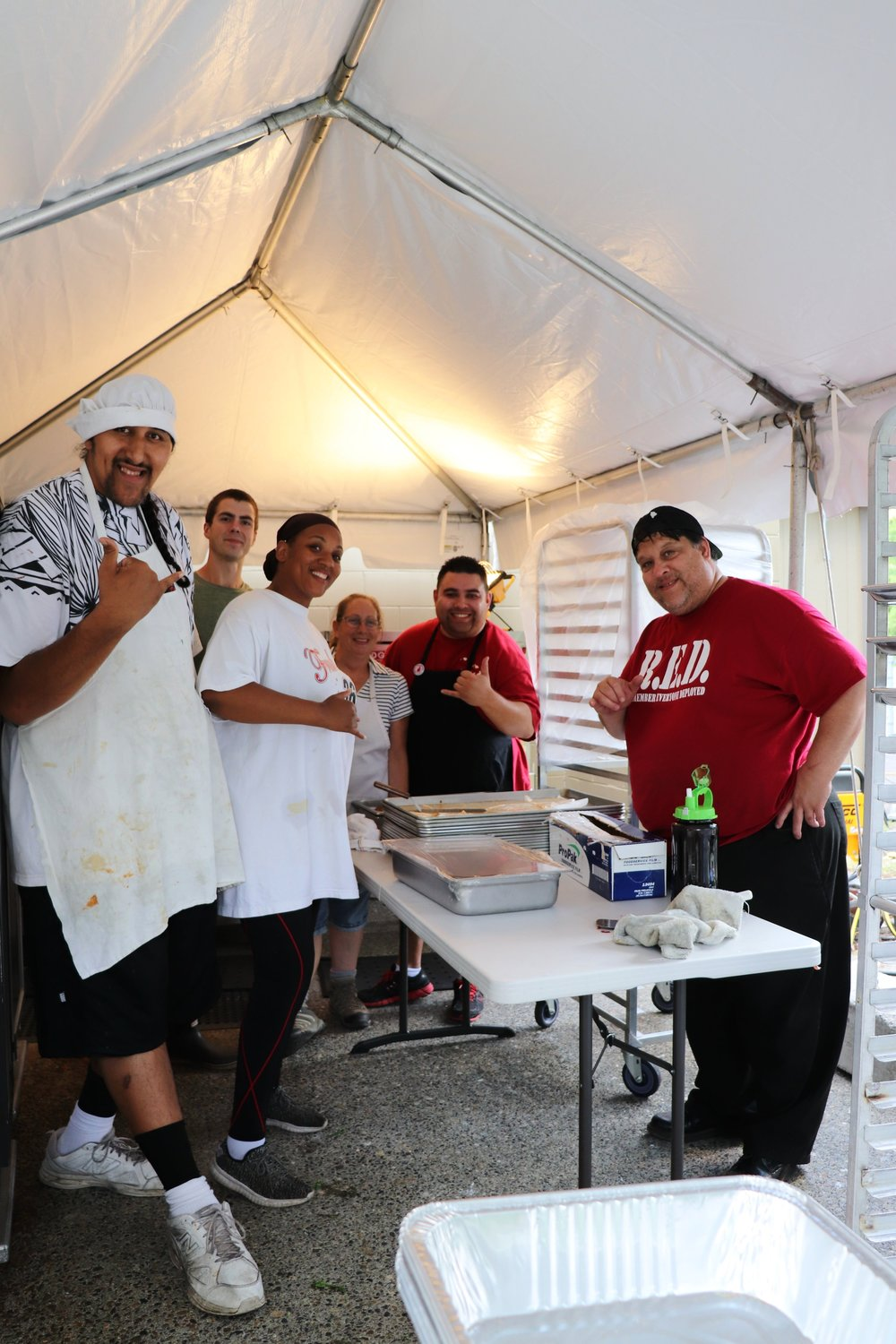 Resident chefs, feeding hundreds daily.