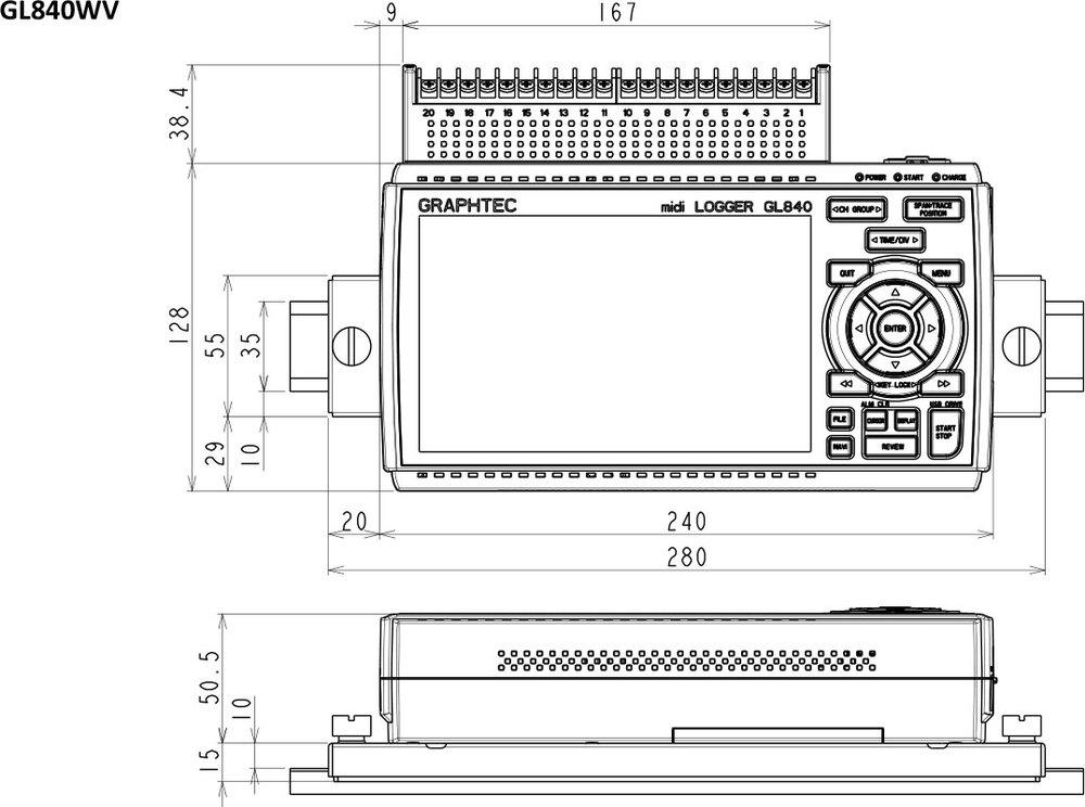 GRAPHTEC MIDI DATA LOGGER GL840-WV DIN RAIL B-570 DIMENSIONS