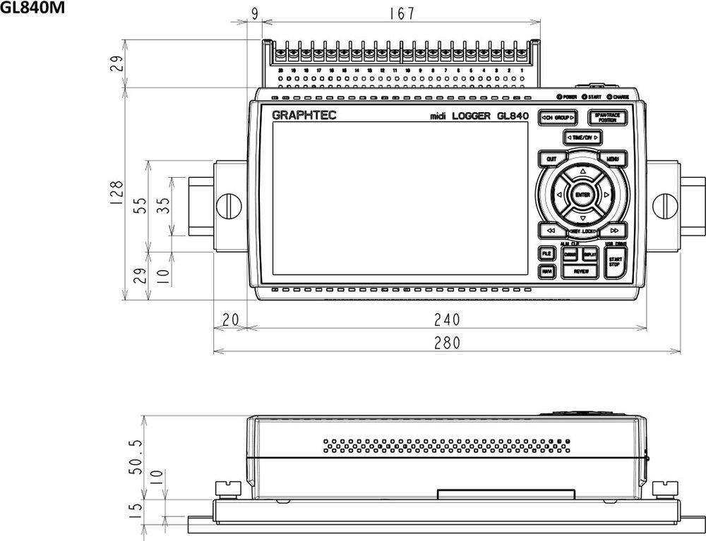 GRAPHTEC MIDI DATA LOGGER GL840-M DIN RAIL B-570 DIMENSIONS