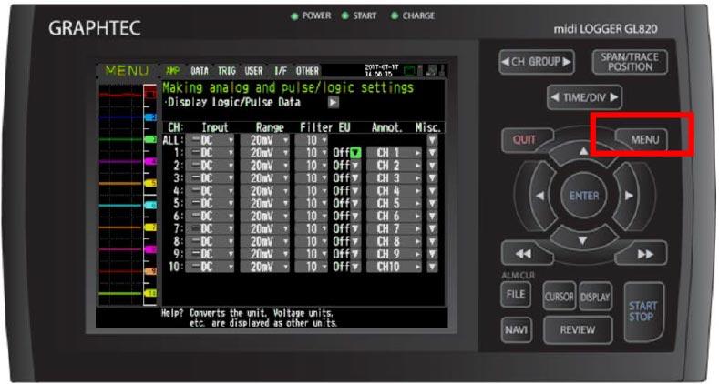 Graphtec Data Logger GL840 Adjusting Scaling For Sensor Transducer Measurement Step 2