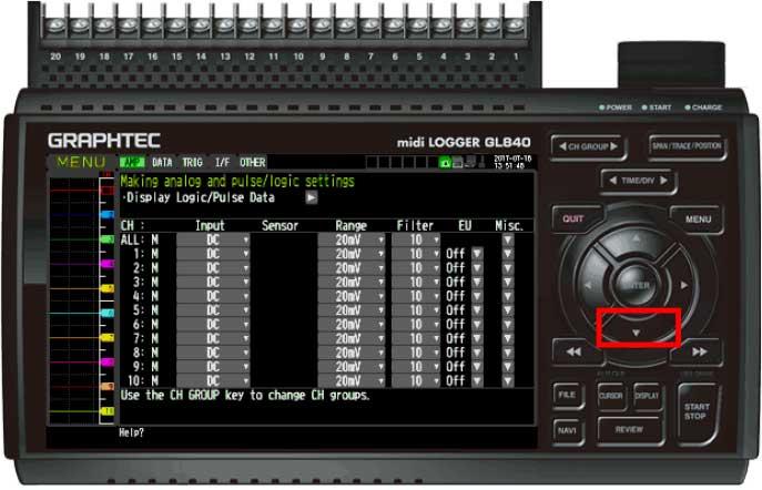 Graphtec Data Logger GL840 Turn On Pulse Logic Step 2