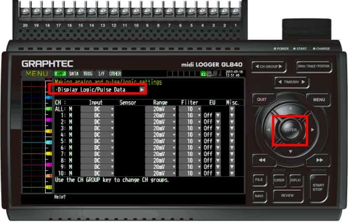 Graphtec Data Logger GL840 Turn On Pulse Logic Step 3