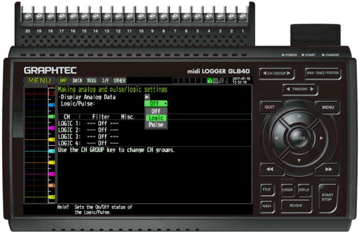 Graphtec Data Logger GL840 Turn On Pulse Logic Step 4
