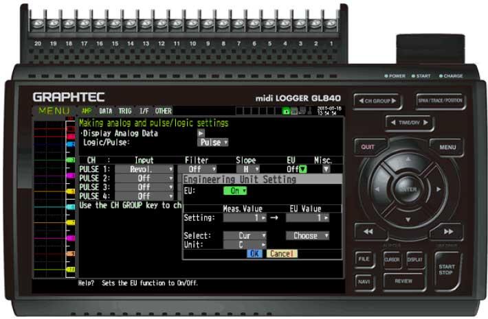 Graphtec Data Logger GL840 Turn On Pulse Logic Step 6