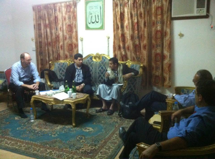 PILPG founder Dr. Paul Williams providing support for the UN Envoy Jamal Benomar during peace negotiations in Sa'ada Yemen.