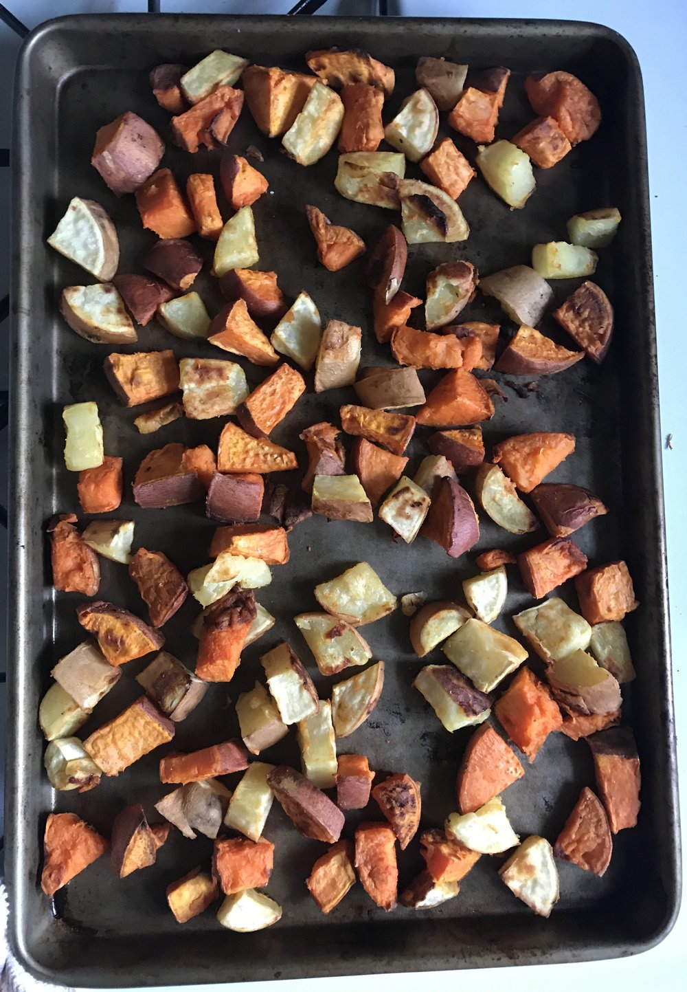 Sweet potatoes are back, I've been eating these by the handful. Tossed in coconut oil and sea salt and roasted for 45 mins at 400 F
