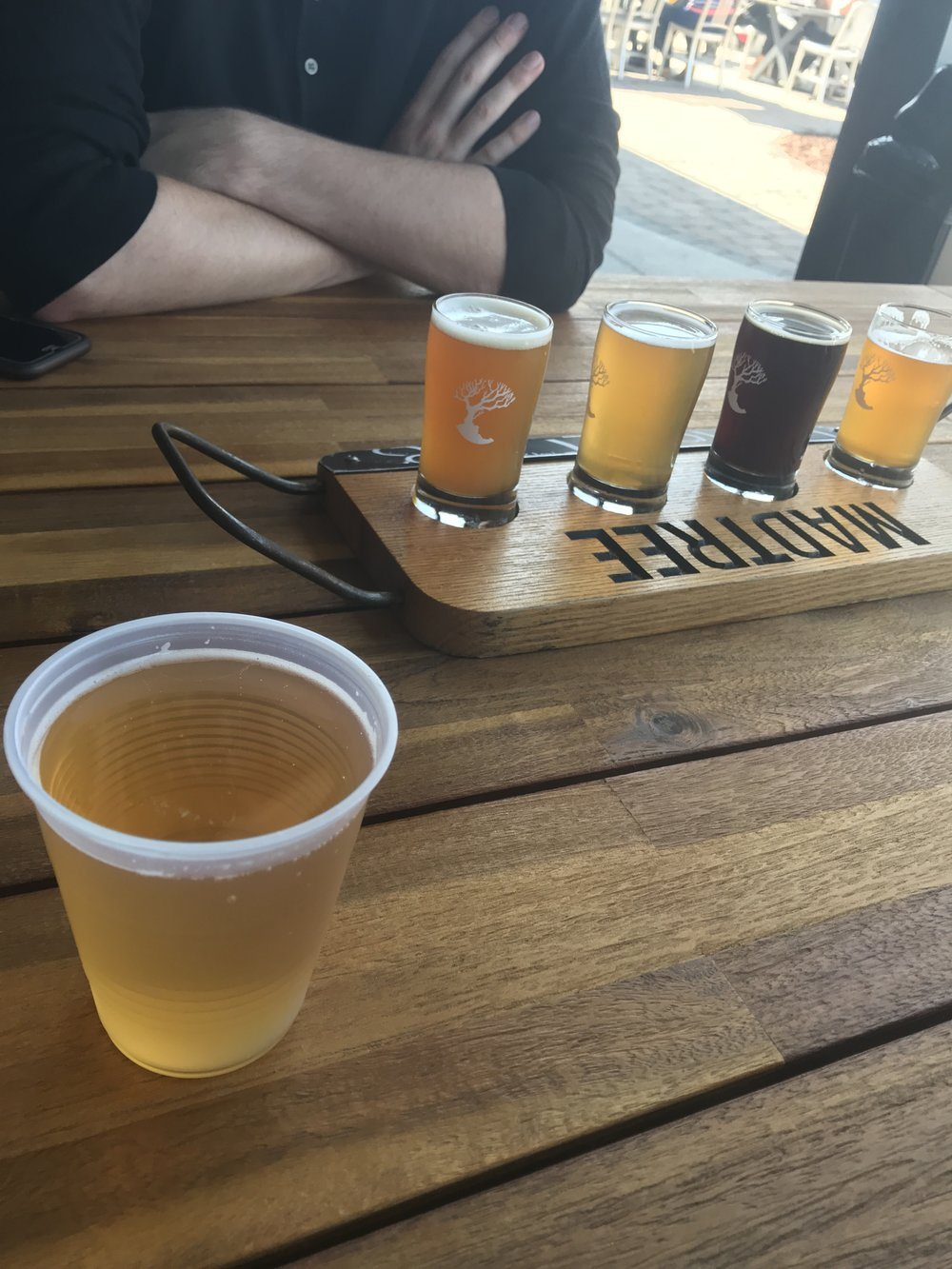 The boys shared an IPA flight as I sipped on my sneaky cider