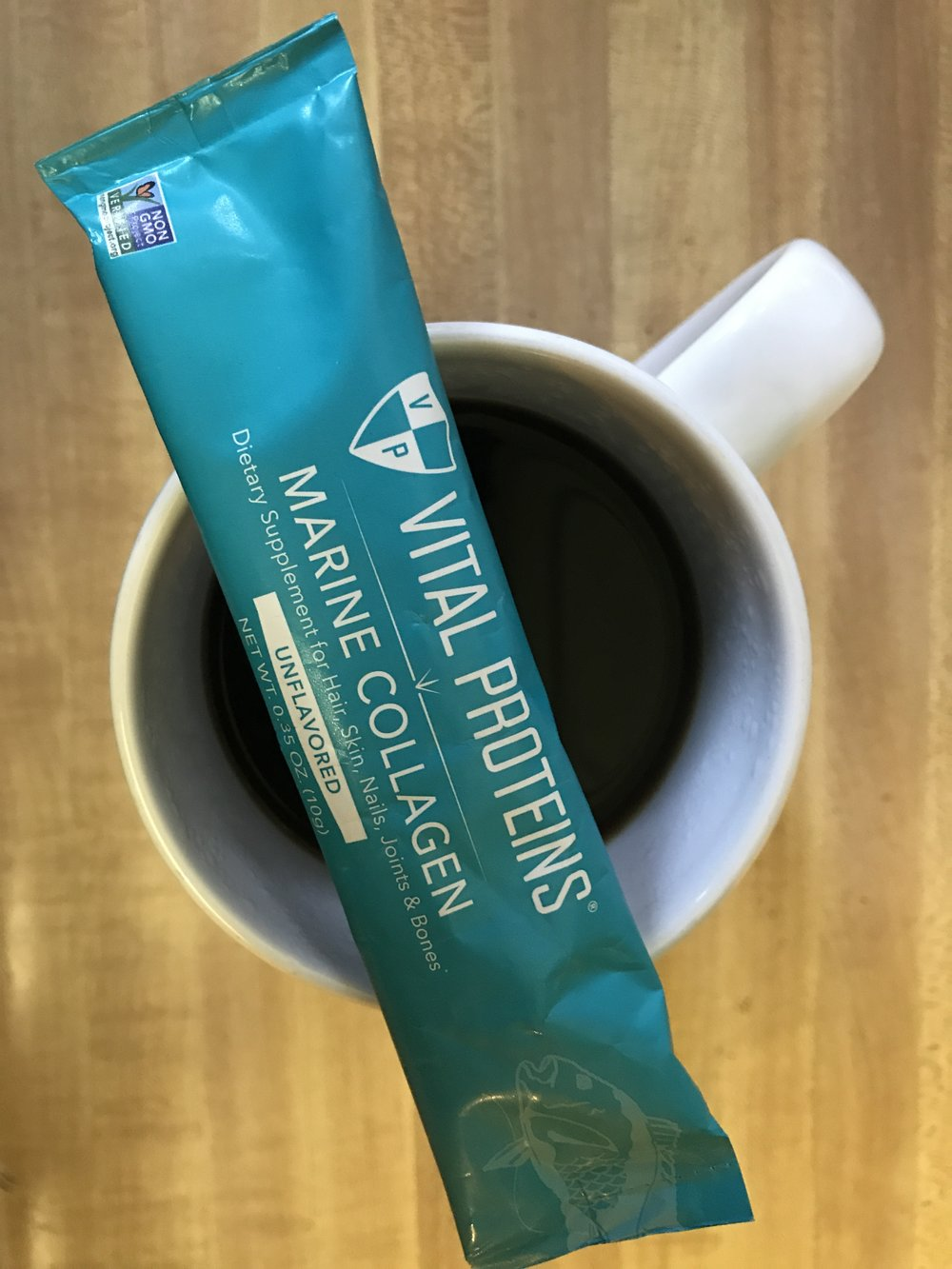 Coffee: 16 oz of half-caf, two scoops of Vital Protein Collagen Peptides, 1/4 cup of So Delicious Unsweetened Coconut milk, 1/4t of Organic Coconut oil combined