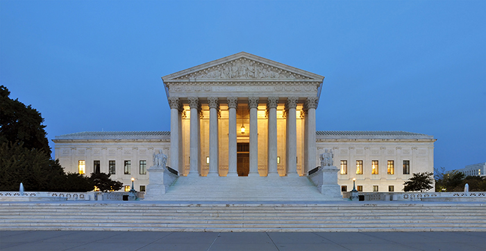 The United States Supreme Court Building at dawn