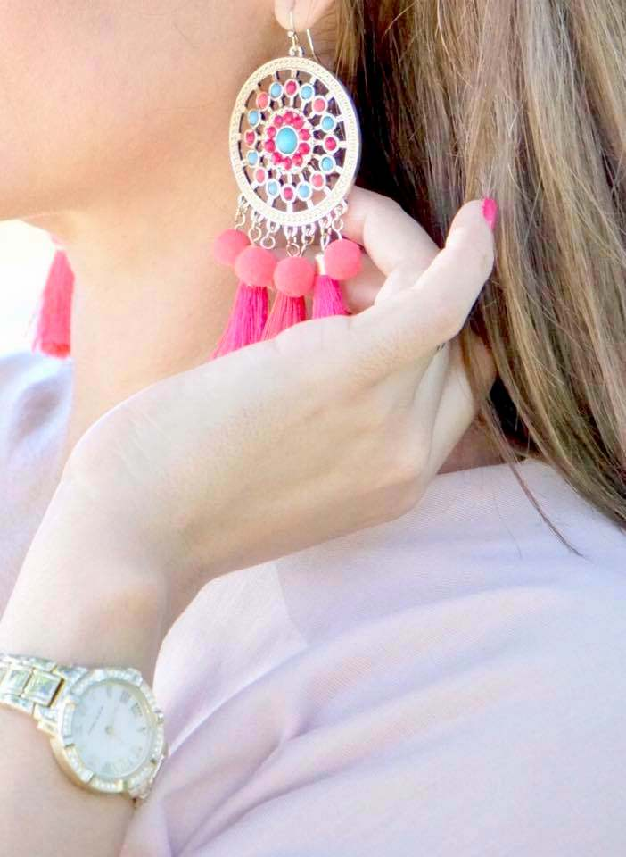 Tassel and pom pom Earrings by    THALIA SODI