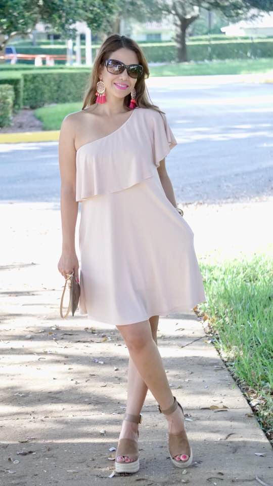 One Shoulder ruffle dress by    BP