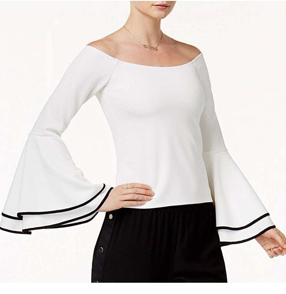 Bar III Off-The-Shoulder Bell-Sleeve Top