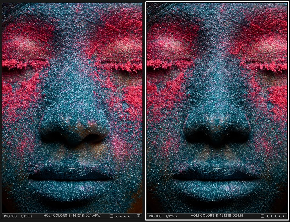 Before/After   There was not much of skin to retouch in this series. It was about maintaining the symmetry and doing the right selective adjustments to get the colors just right. And the rest of the images in the series had to go though basic cleanup of hair strands and skin imperfections.