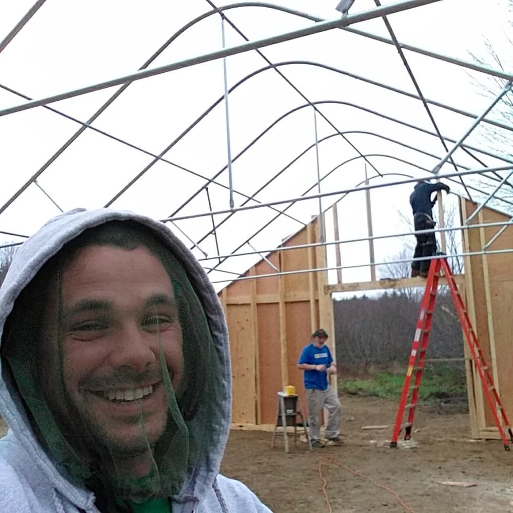 Greenhouse build - The black flies were out in force that week! Hence the reason for the face nets. Some friends came by and helped with the construction of the greenhouse. We are blessed to have such a great community that supports growing medicine.