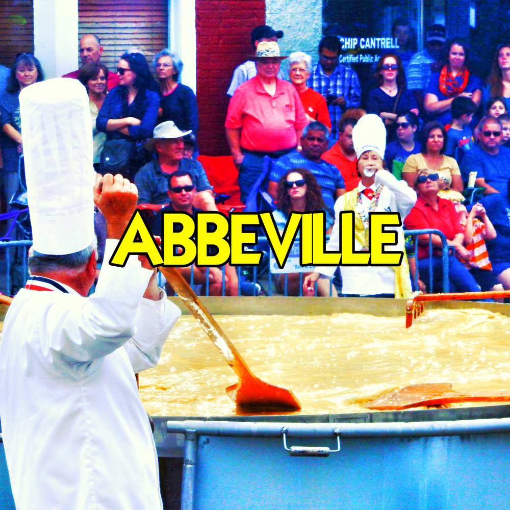 Abbeville, LA    Our family went to the Giant Omelette Celebration, a 2-day event every November in Louisiana.   Click to read more and watch videos  .
